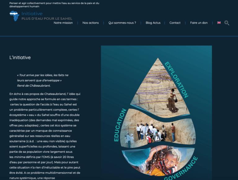 Conception et Realisation site bilingue More Water for Sahel